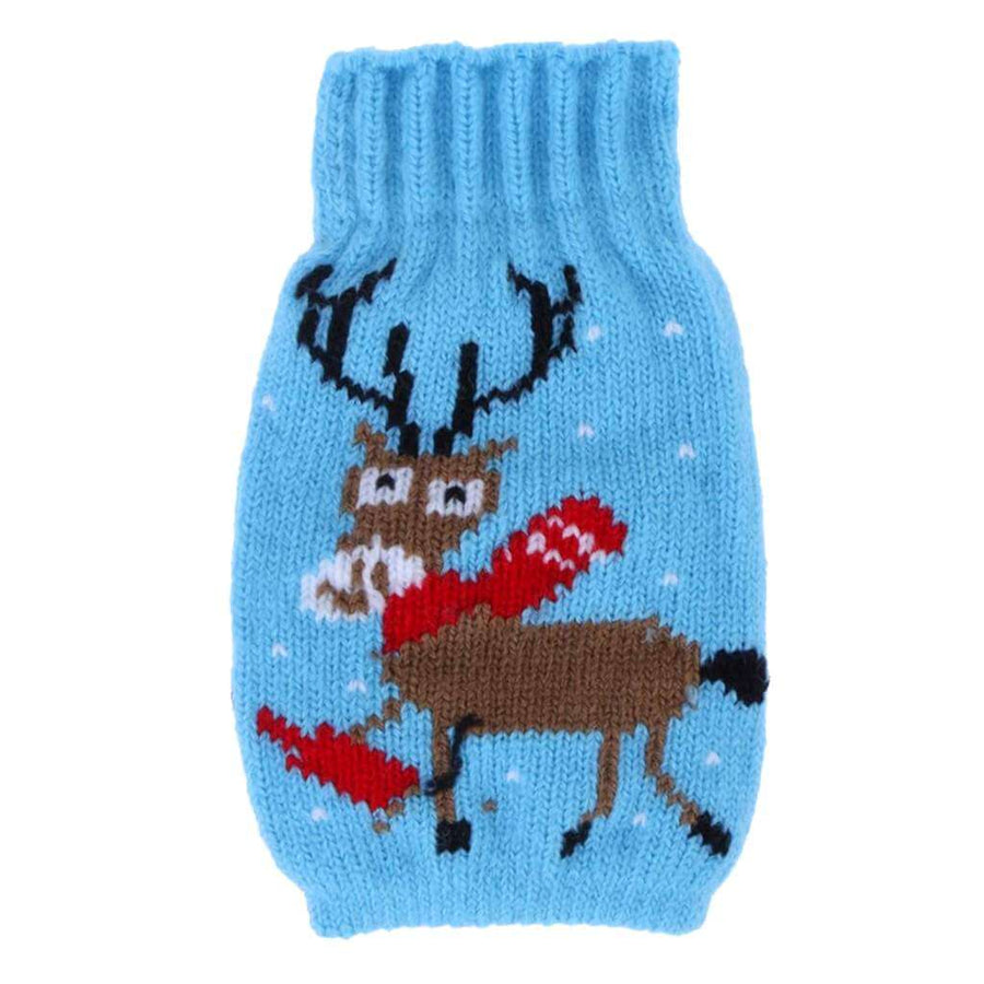 Knitted Christmas Bottle Stubby Holder - Xmas Moose