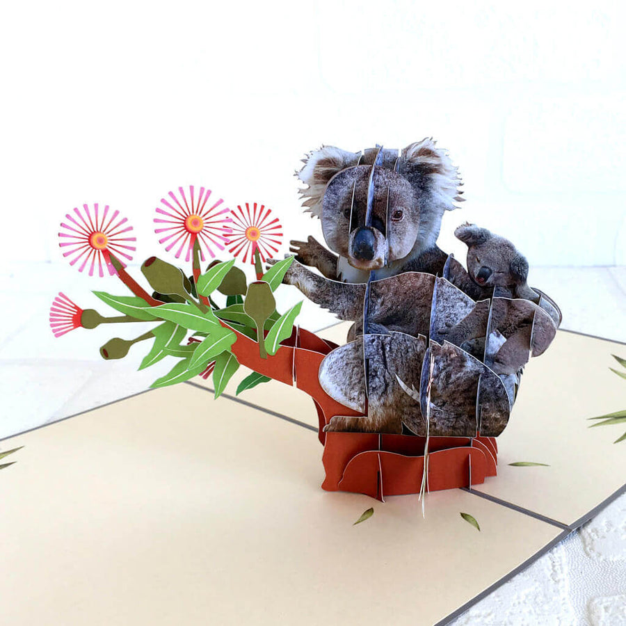 Handmade Mummy and Baby Koala  Sitting On a Flowering Gum Tree 3D Pop Up Card
