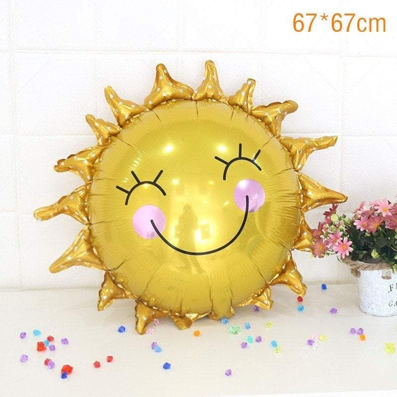 "29"" Giant Gold Happy Smiling Sunshine Sun Shaped Foil Balloon"