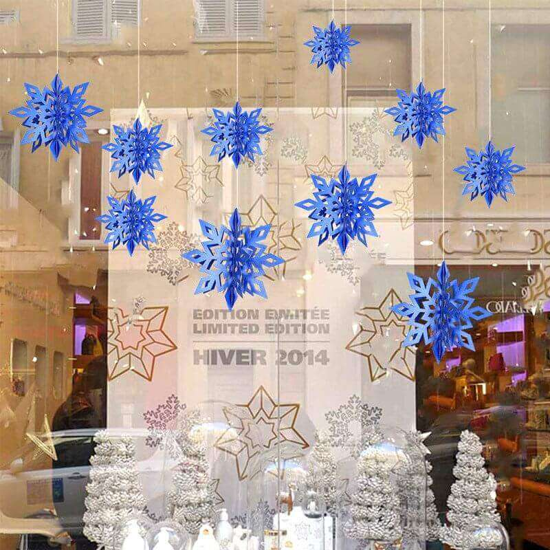 3D Dark Blue Glitter Christmas Snowflake Paper Hanging Ornament 6 Pack