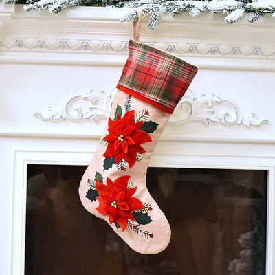 Large Traditional Burlap Merry Christmas Stocking red Poinsettia flowers