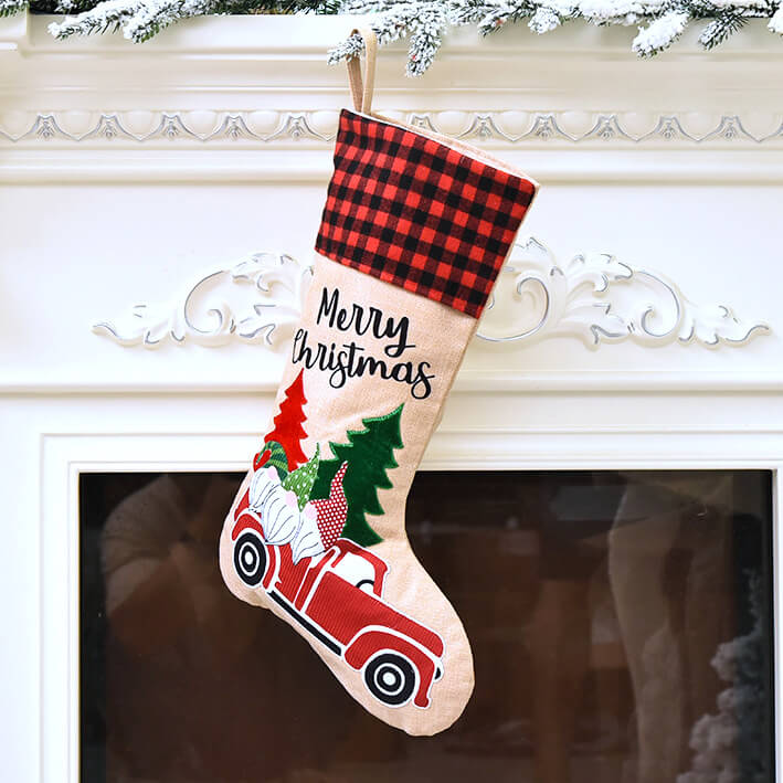 Large Traditional Burlap Merry Christmas Stocking