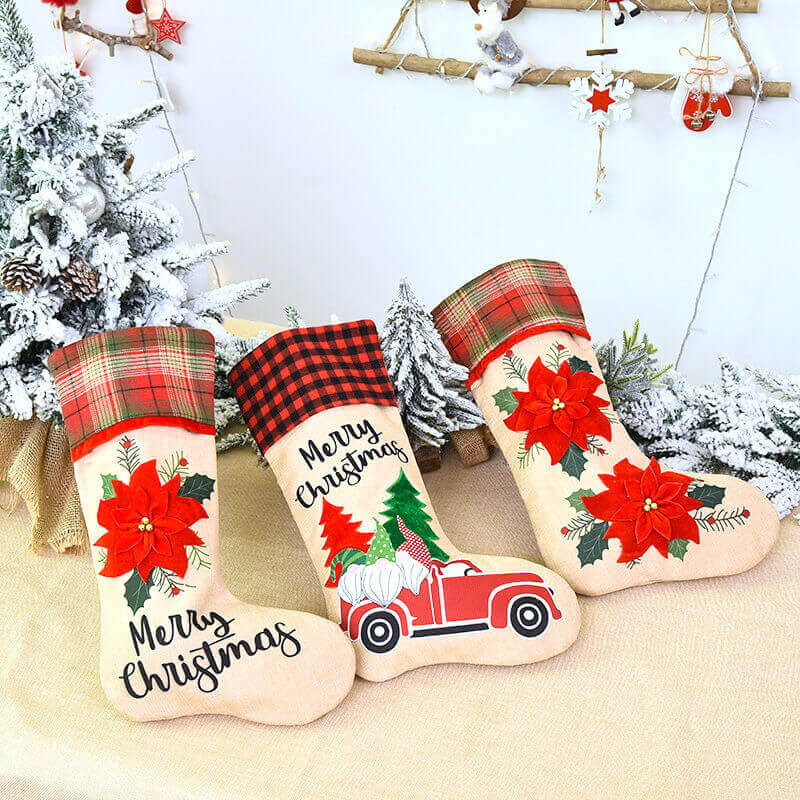 Large Burlap Merry Christmas Stocking - Xmas Trees & Santas on Red Ute