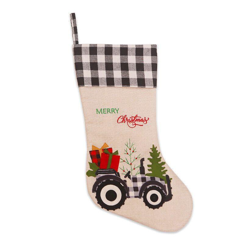 Large Hessian Burlap Christmas Stocking - Xmas Trees & Tractors