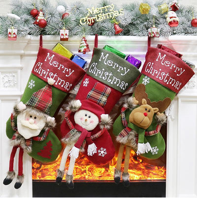 Large Merry Christmas Stockings - Xmas Home Decorations - Online Party Supplies