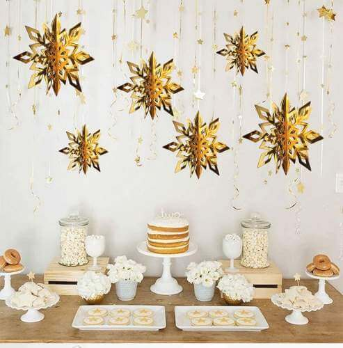 3D Metallic Gold Christmas Snowflake Paper Hanging Ornament 6 Pack