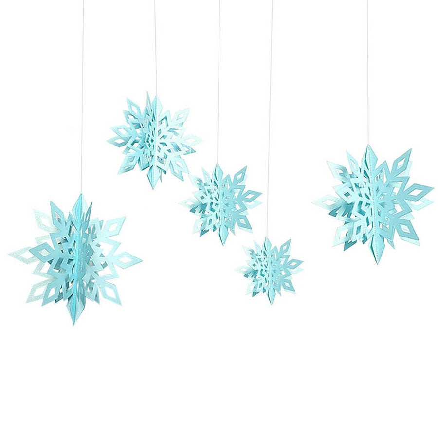 3D Ocean Blue Glitter Christmas Snowflake Paper Hanging Ornament 6 Pack