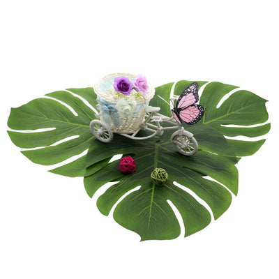 Large Tropical Artificial Monstera Leaves for Hawaiian Luau Party Decor (Pack of 10) - Online Party Supplies