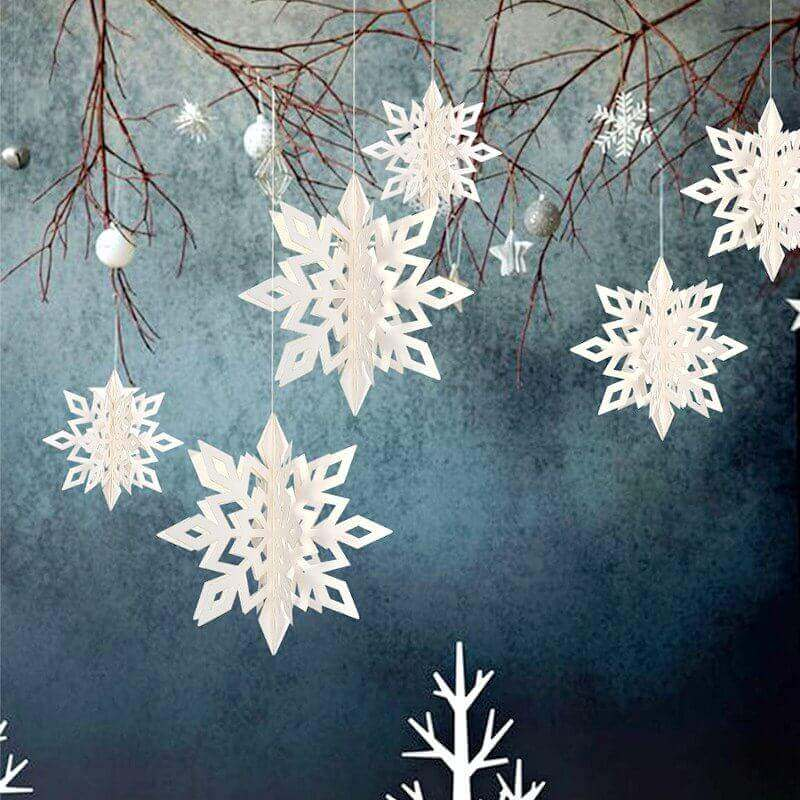 White Glitter Christmas Snowflake Paper Hanging Ornament 6 Pack