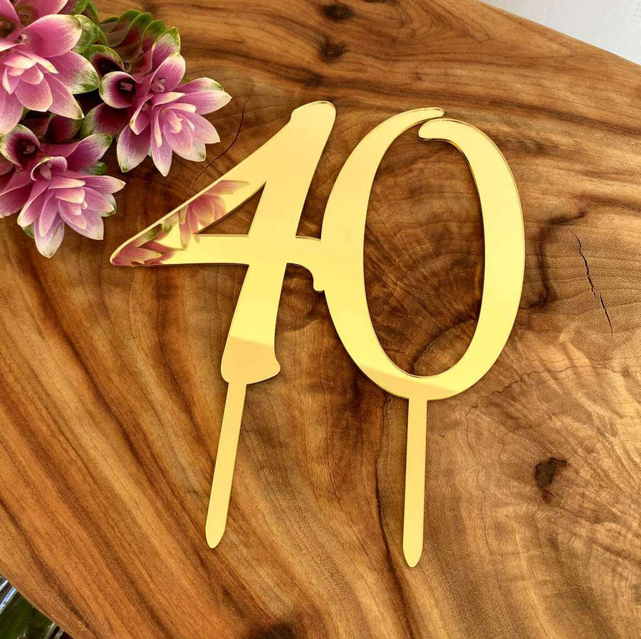 Acrylic Gold Mirror Number 40 Birthday Cake Topper