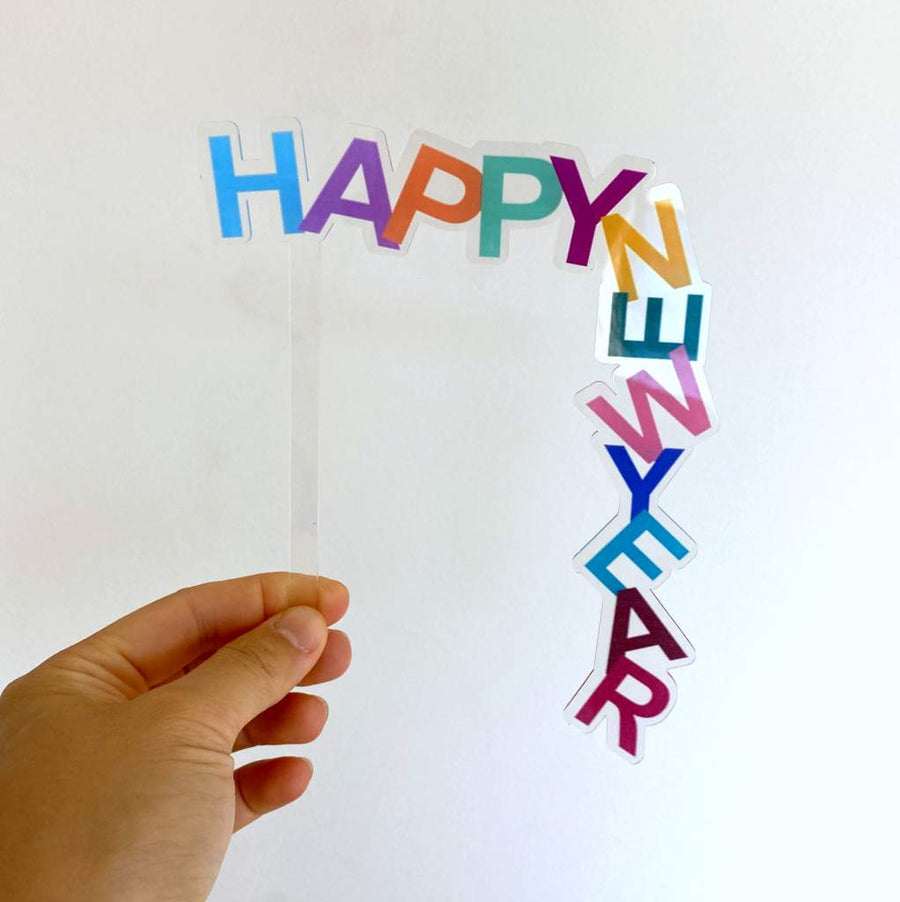 Rainbow Acrylic Happy New Year Cake Topper