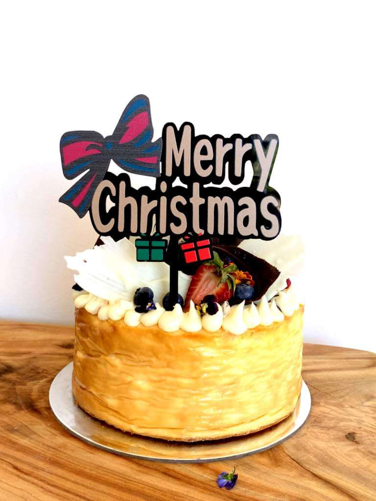 Acrylic Merry Christmas with Bow Tie Cake Topper
