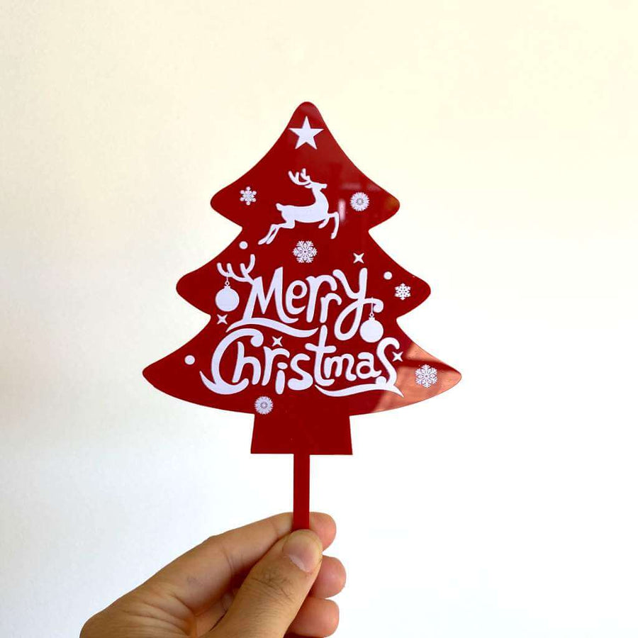 Acrylic Red Christmas Tree Merry Christmas Cake Topper