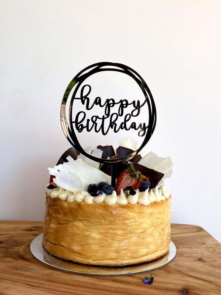 Black Geometric Round Happy Birthday Cake Topper