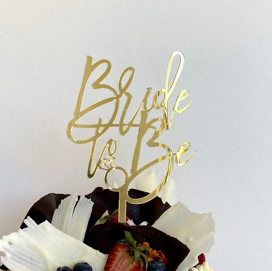 Gold Mirror Acrylic 'Bride To Be' with Diamond Ring Cake Topper