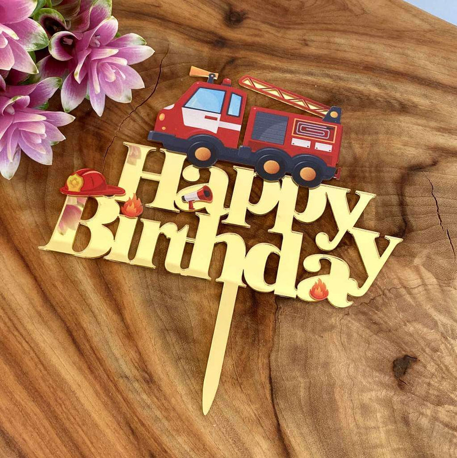 Gold Mirror Acrylic Happy Birthday Red Fire Truck Cake Topper