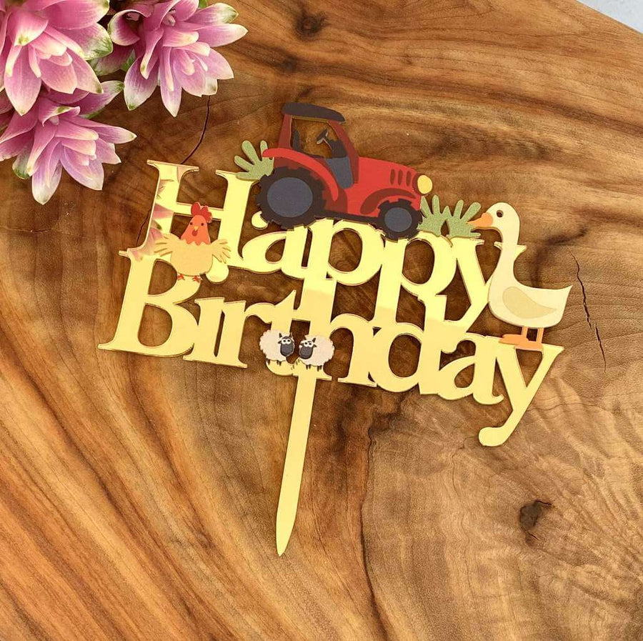 Gold Mirror Acrylic Happy Birthday Red Tractor Cake Topper