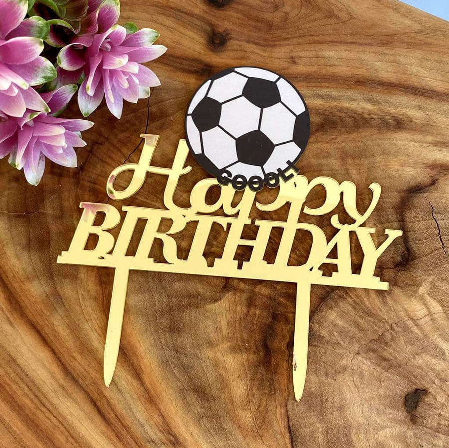 Gold Mirror Acrylic Happy Birthday Soccer Ball Cake Topper