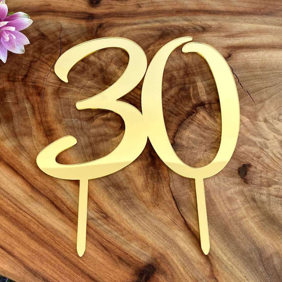 Acrylic Gold Mirror Number 30 Birthday Cake Topper