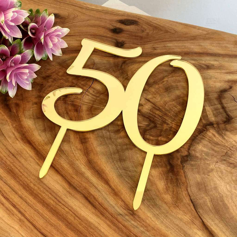 Acrylic Gold Mirror Number 50 Birthday Cake Topper
