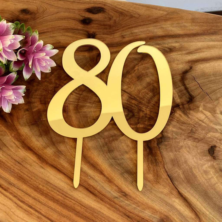 Acrylic Gold Mirror Number 80 Birthday Cake Topper