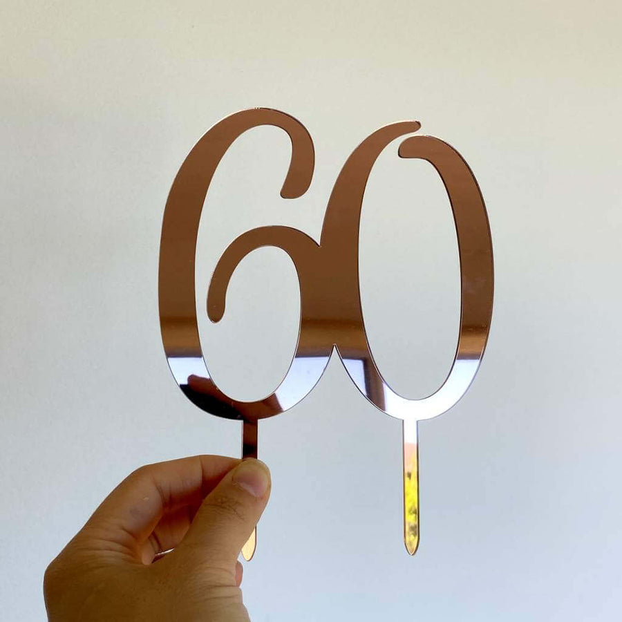 Acrylic Rose Gold Mirror Number 60 Cake Topper - 60th Birthday Party Cake Decorations