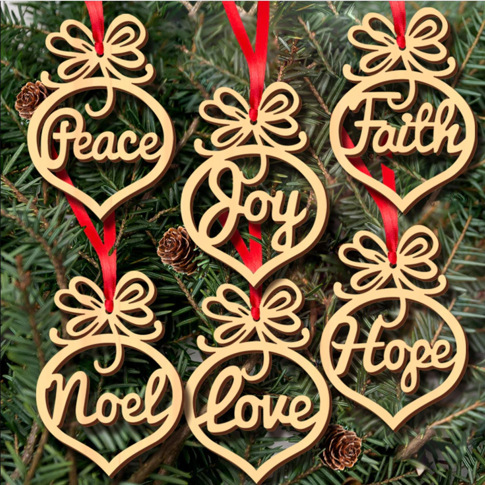 Laser Cut Scandinavian Wooden Christmas Tree Decorations Pack Of 6