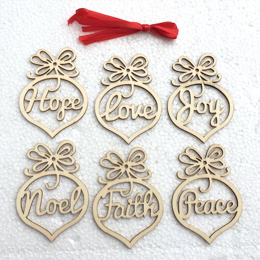 Laser Cut Religious Wooden Christmas Tree Ornaments - Pack of 6