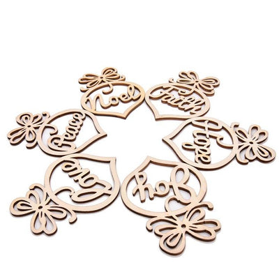 Laser Cut Scandinavian Wooden Christmas Tree Decorations (pack of 6) - Online Party Supplies