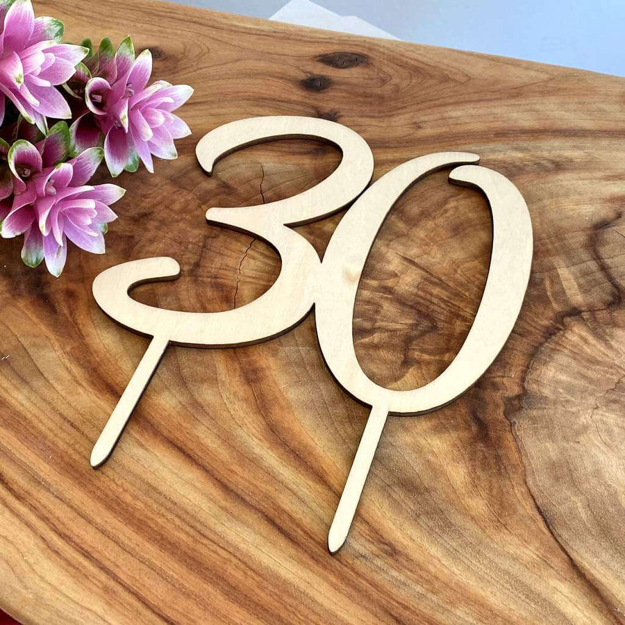 Wooden Number 30 Birthday Cake Topper