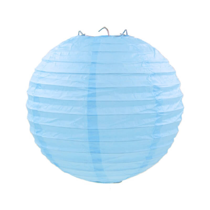 Light Blue Round Chinese Paper Lantern - 4 Sizes
