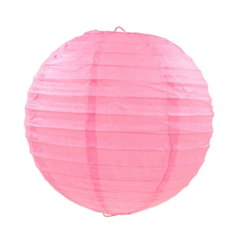 Light Pink Round Chinese Paper Lantern - 4 Sizes