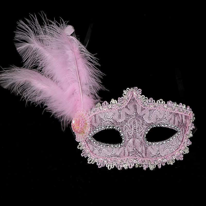 Glitter Lace Tall Feather Masquerade Mask - Light Pink