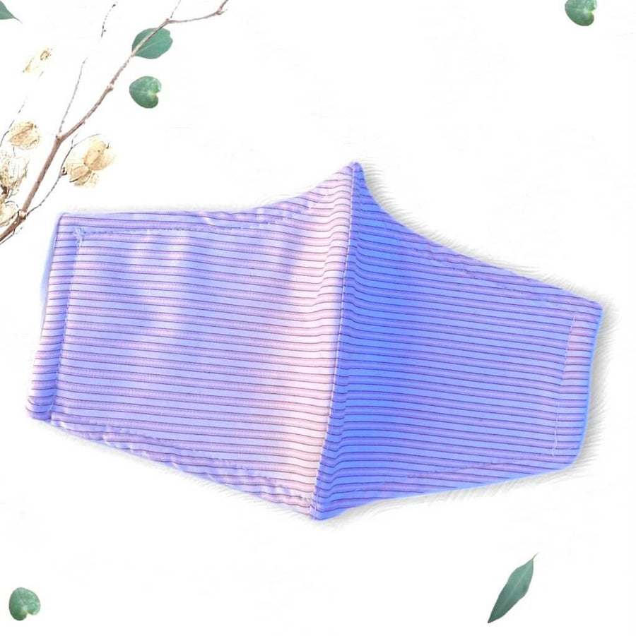 Handmade Triple Layer 100% Cotton Reusable Washable Protective Lilac Stripe Pattern Face Mask for Women