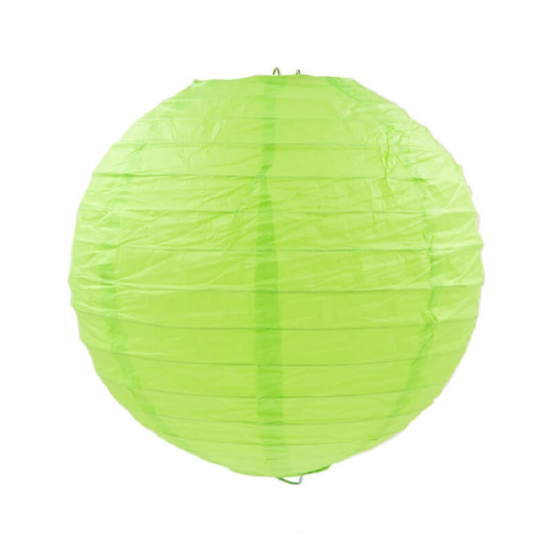 Lime Green Round Chinese Paper Lantern - 4 Sizes