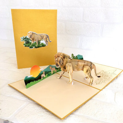 Handmade Lion King of Jungle Animal 3D Pop Up Christmas Card - Safari/Jungle Animal Themed Party Cards