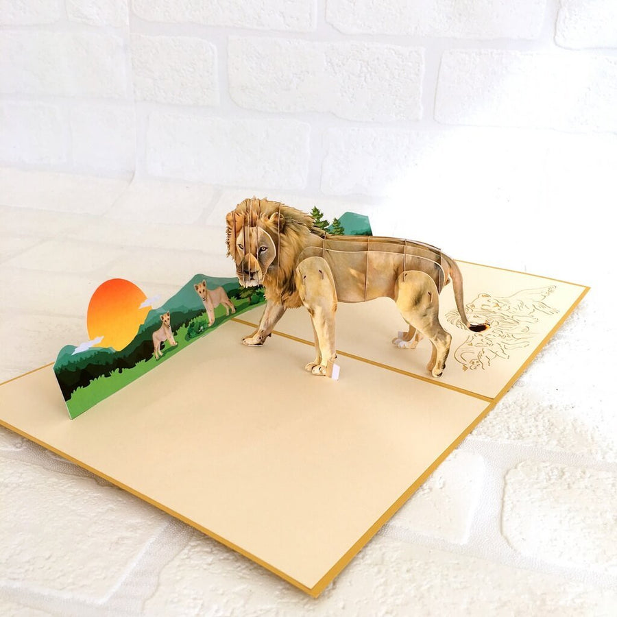Handmade Lion King of Jungle Animal 3D Pop Up Birthday Card - Safari/Jungle Animal Themed Party Cards