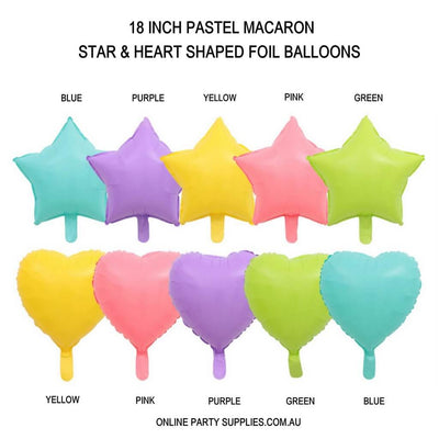 "18"" Online Party Supplies Pastel Candy Macaron Star & Heart Shaped Foil Balloon Colour Chart"