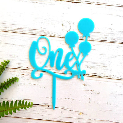 Matte Blue Acrylic 'One' Balloon Birthday Cake Topper - Online Party Supplies
