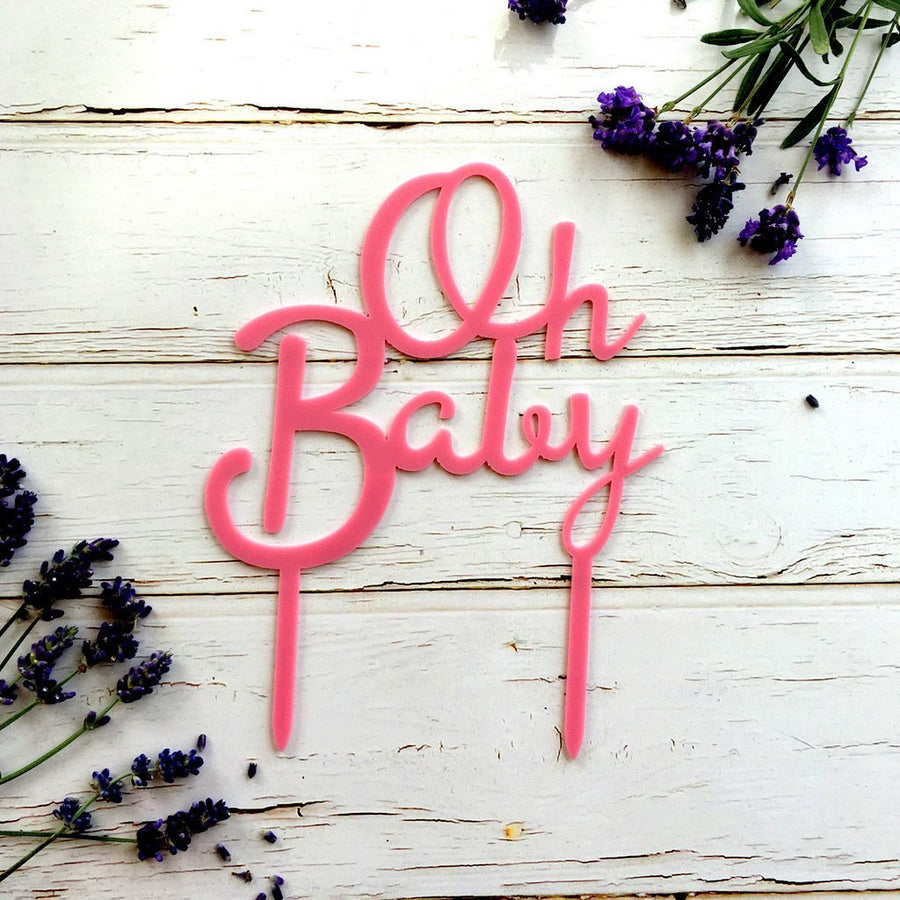 Matte Hot Pink Acrylic 'Oh Baby' Script Baby Shower Cake Topper - Online Party Supplies