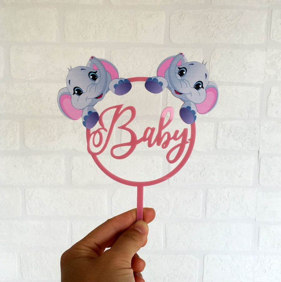 Matte Pink Acrylic Baby Elephant Cake Topper - Online Party Supplies