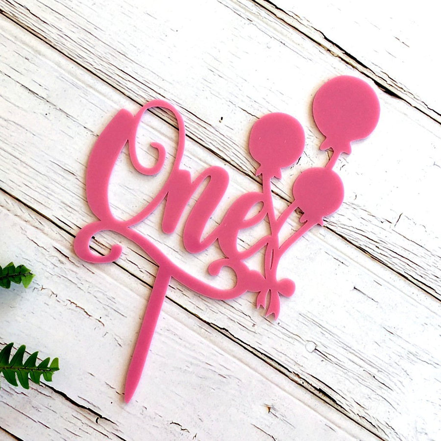 Matte Pink Acrylic 'One' Balloon Birthday Cake Topper - Online Party Supplies