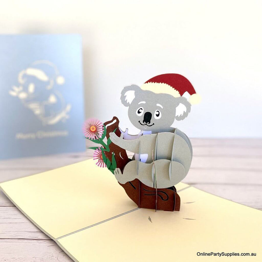 Handmade 3D Christmas Koala Bear Pop Up Card - Australian Native Animal Pop Up Cards