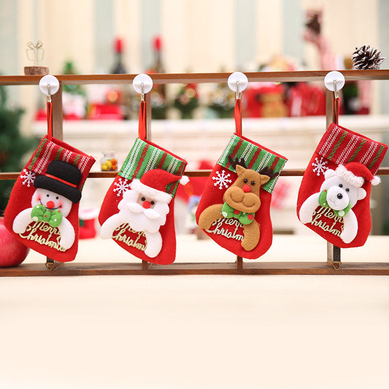 Merry Christmas Stocking Hanging Ornament (Santa, Snowman, Reindeer, Polar Bear)
