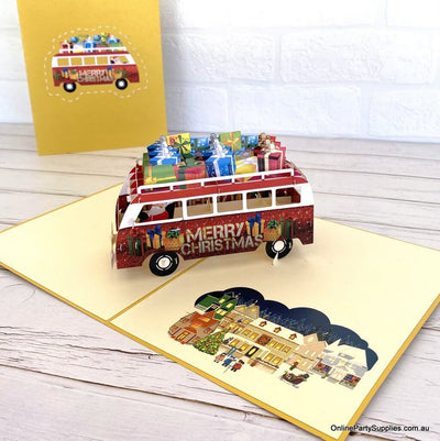 Online Party Supplies Australia Santa Driving Red Vintage Kombi with Xmas Presents 3D Pop Up Greeting Card for dad
