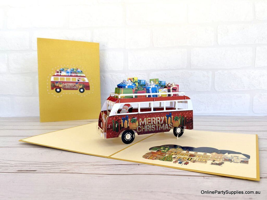 Santa Driving Red Vintage Kombi with Xmas Presents Pop Up Card