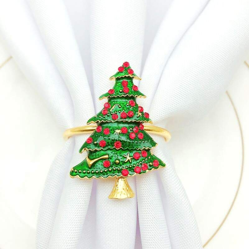 Metal Rhinestone Christmas Napkin Ring