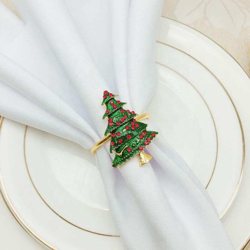Metal Rhinestone Christmas Napkin Ring - Xmas Tree