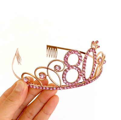 Premium Quality Rose Gold Metal Rhinestone 80th Birthday Tiara with little Crown