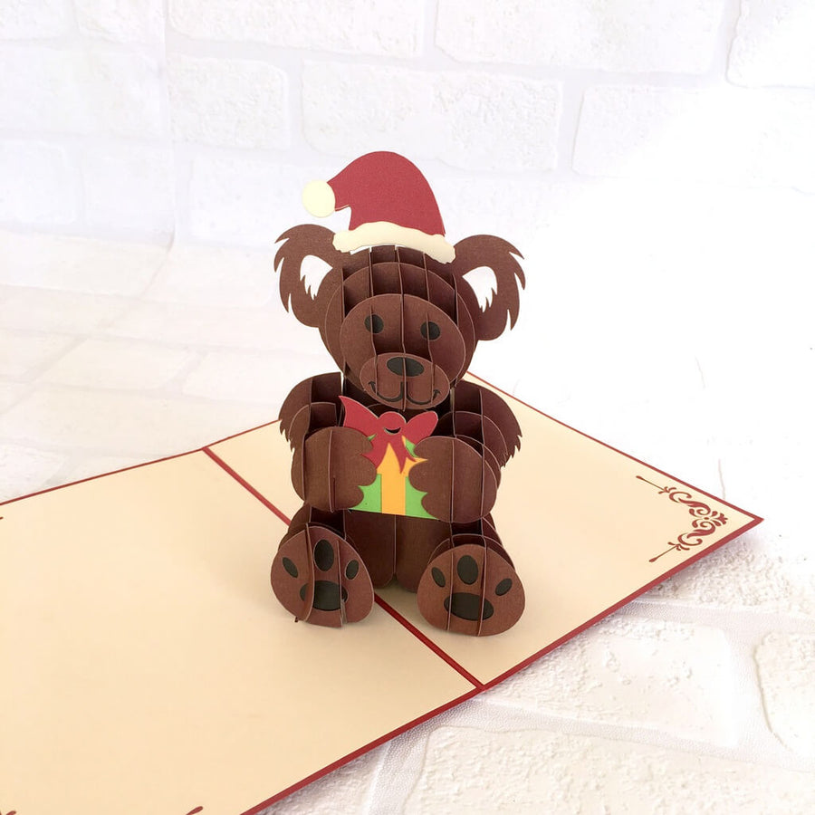 Handmade Merry Christmas Brown Teddy Bear 3D Pop Up Greeting Card